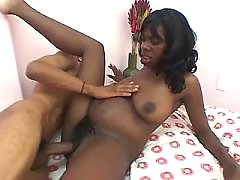 Pregnant ebony gets cum on belly