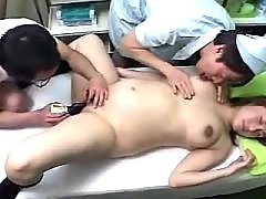 Pregnant asian chick gets dildofuck