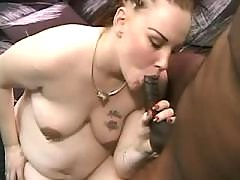 Chubby preggo girl sucks black cock