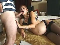 Pregnant mature seduces amateur guy